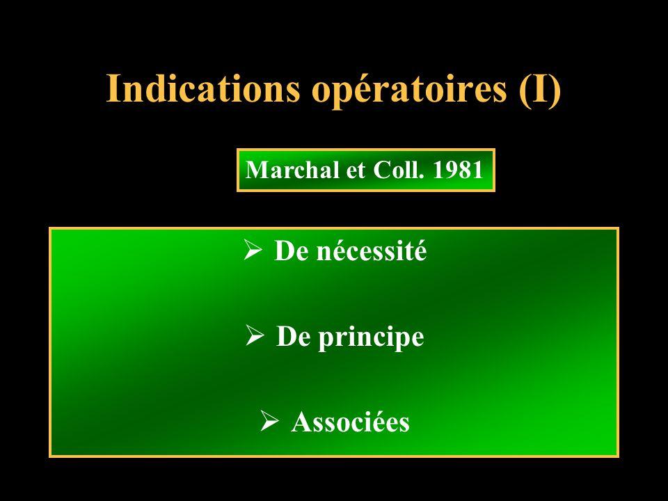 Indications opératoires (I) De nécessité De principe Associées Marchal et Coll. 1981