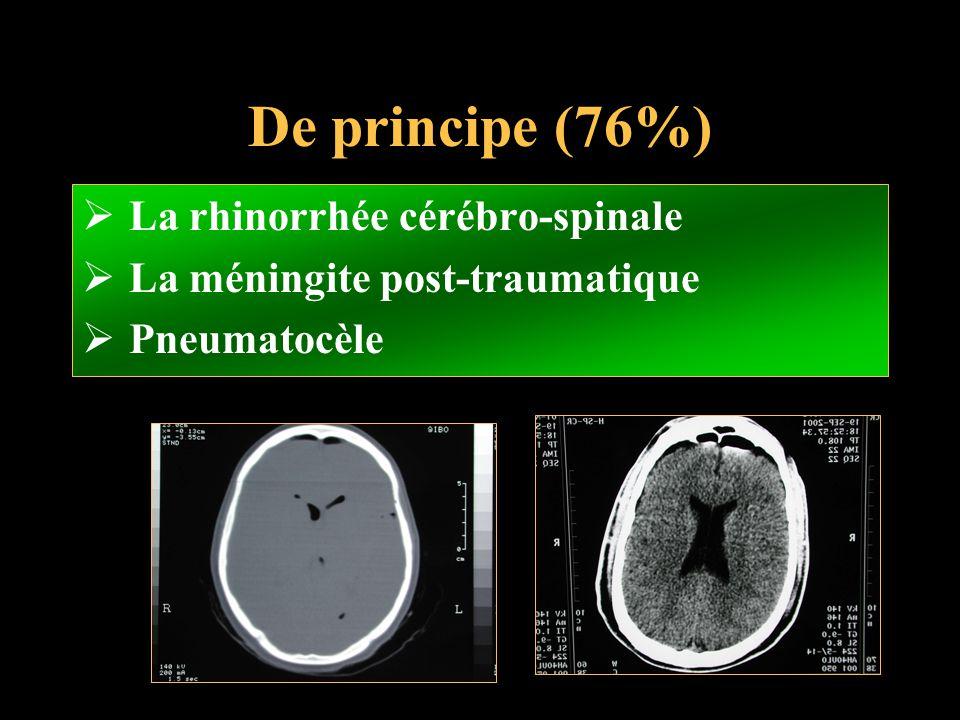 De principe (76%) La rhinorrhée cérébro-spinale La méningite post-traumatique Pneumatocèle