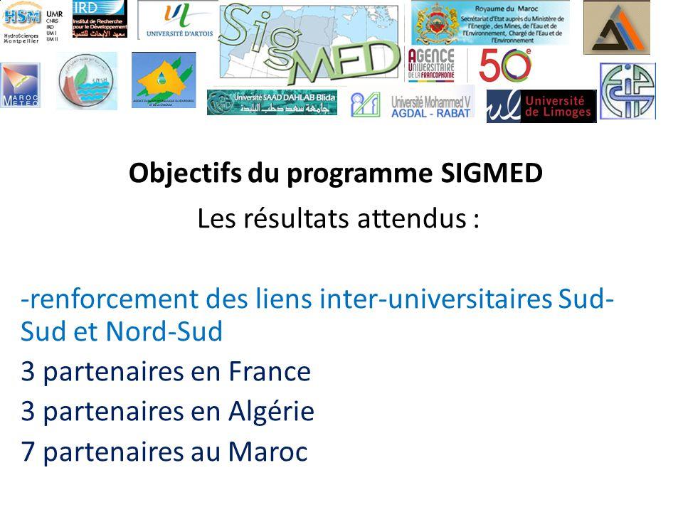 Objectifs du programme SIGMED Les résultats attendus : -renforcement des liens inter-universitaires Sud- Sud et Nord-Sud 3 partenaires en France 3 partenaires en Algérie 7 partenaires au Maroc