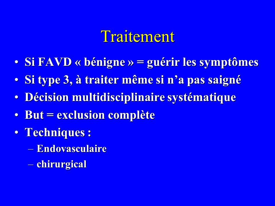 Traitement Si FAVD « bénigne » = guérir les symptômesSi FAVD « bénigne » = guérir les symptômes Si type 3, à traiter même si na pas saignéSi type 3, à traiter même si na pas saigné Décision multidisciplinaire systématiqueDécision multidisciplinaire systématique But = exclusion complèteBut = exclusion complète Techniques :Techniques : –Endovasculaire –chirurgical