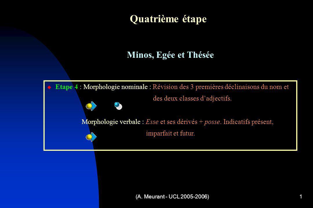 (A. Meurant - UCL 2005-2006)1 Quatrième étape Minos, Egée et Thésée Etape 4 : Morphologie nominale : Révision des 3 premières déclinaisons du nom et d