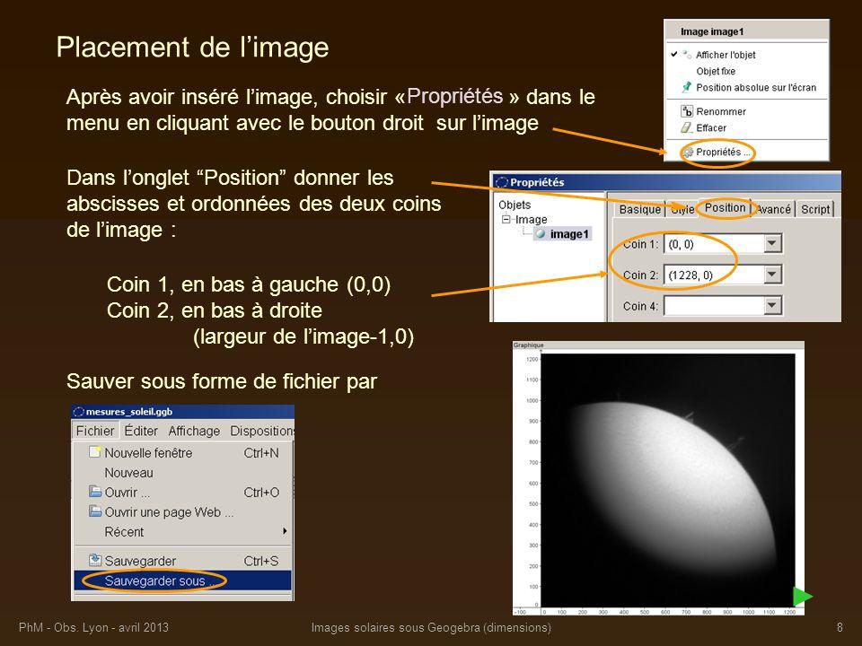 PhM - Obs. Lyon - avril 2013Images solaires sous Geogebra (dimensions)8 Placement de limage Après avoir inséré limage, choisir « » dans le menu en cli