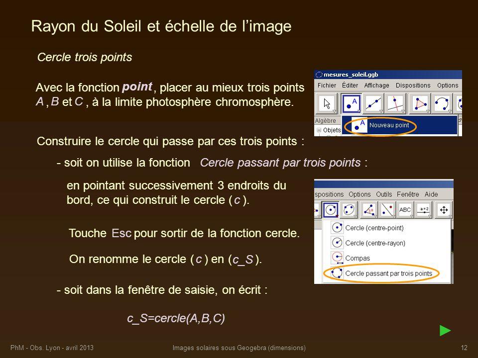 PhM - Obs. Lyon - avril 2013Images solaires sous Geogebra (dimensions)12 Rayon du Soleil et échelle de limage Construire le cercle qui passe par ces t