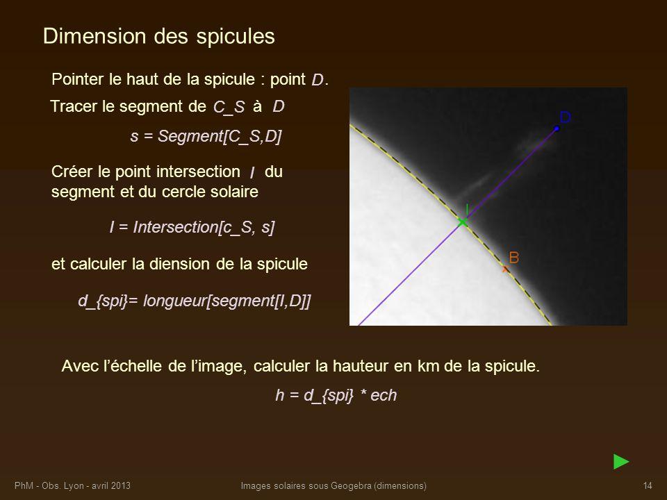 PhM - Obs. Lyon - avril 2013Images solaires sous Geogebra (dimensions)14 Dimension des spicules Pointer le haut de la spicule : point. Tracer le segme