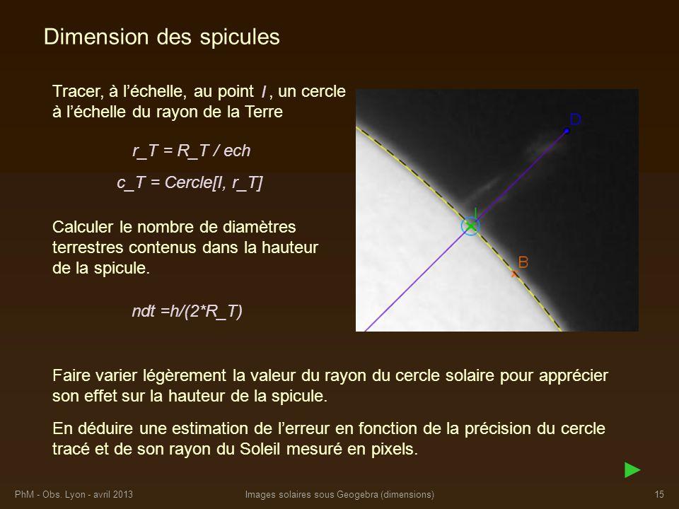 PhM - Obs. Lyon - avril 2013Images solaires sous Geogebra (dimensions)15 Tracer, à léchelle, au point, un cercle à léchelle du rayon de la Terre Dimen