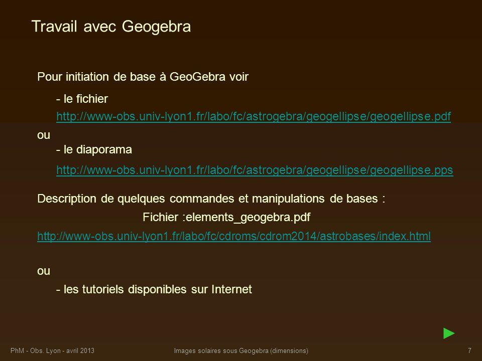 PhM - Obs. Lyon - avril 2013Images solaires sous Geogebra (dimensions)7 Pour initiation de base à GeoGebra voir Travail avec Geogebra ou - les tutorie