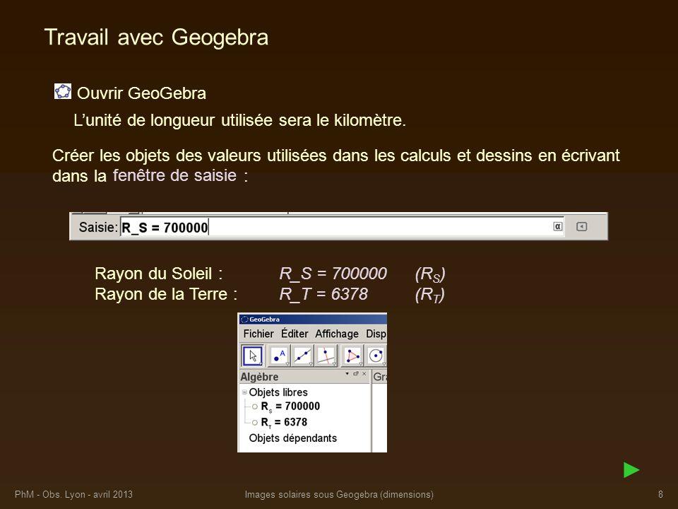 PhM - Obs. Lyon - avril 2013Images solaires sous Geogebra (dimensions)8 Travail avec Geogebra Ouvrir GeoGebra Lunité de longueur utilisée sera le kilo