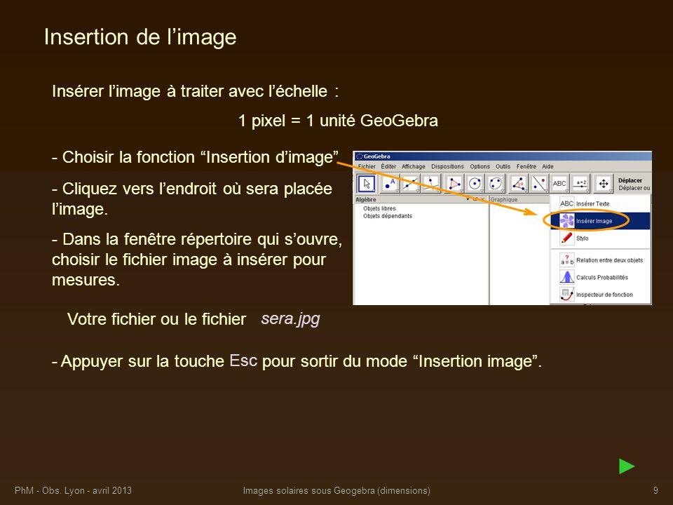 PhM - Obs. Lyon - avril 2013Images solaires sous Geogebra (dimensions)9 Insertion de limage Insérer limage à traiter avec léchelle : - Cliquez vers le