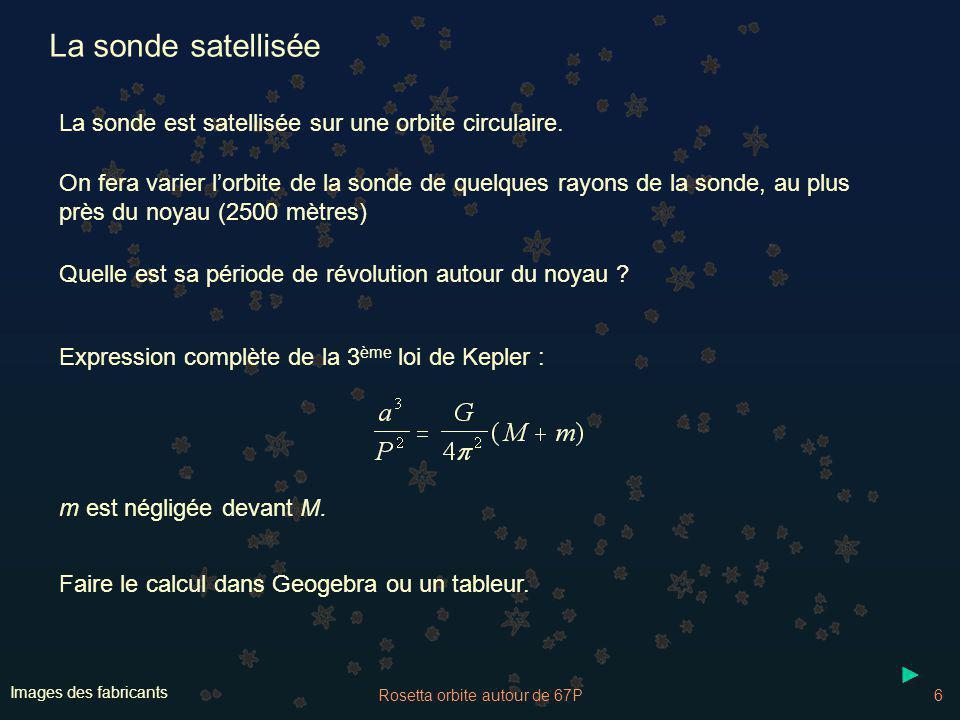 Rosetta orbite autour de 67P7 Images des fabricants La sonde satellisée Quelle est sa période de révolution autour du noyau .