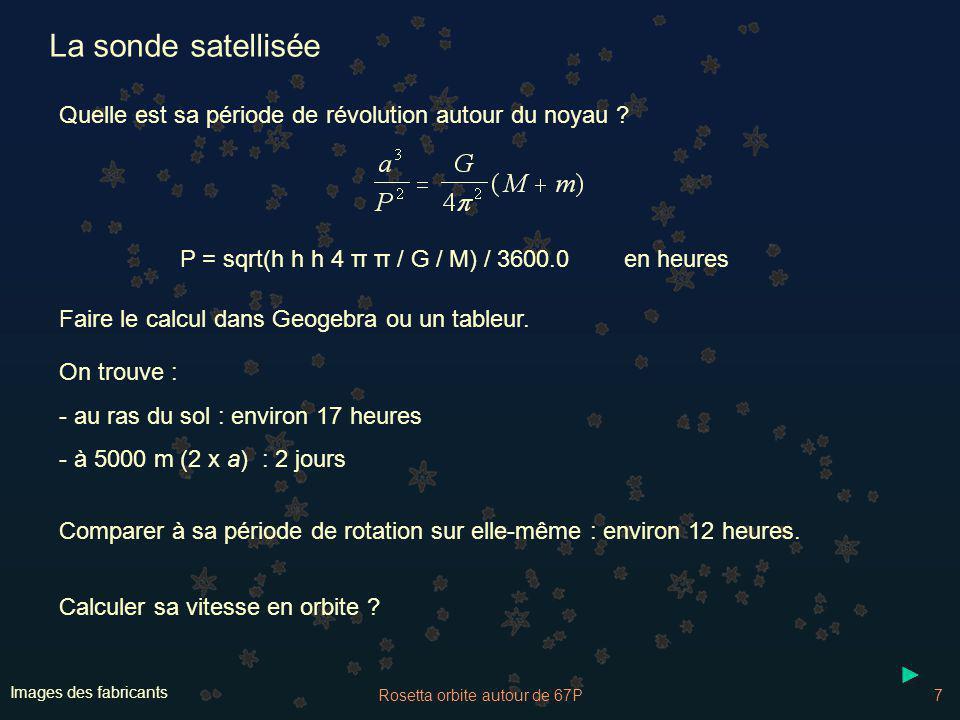 Rosetta orbite autour de 67P7 Images des fabricants La sonde satellisée Quelle est sa période de révolution autour du noyau ? Faire le calcul dans Geo