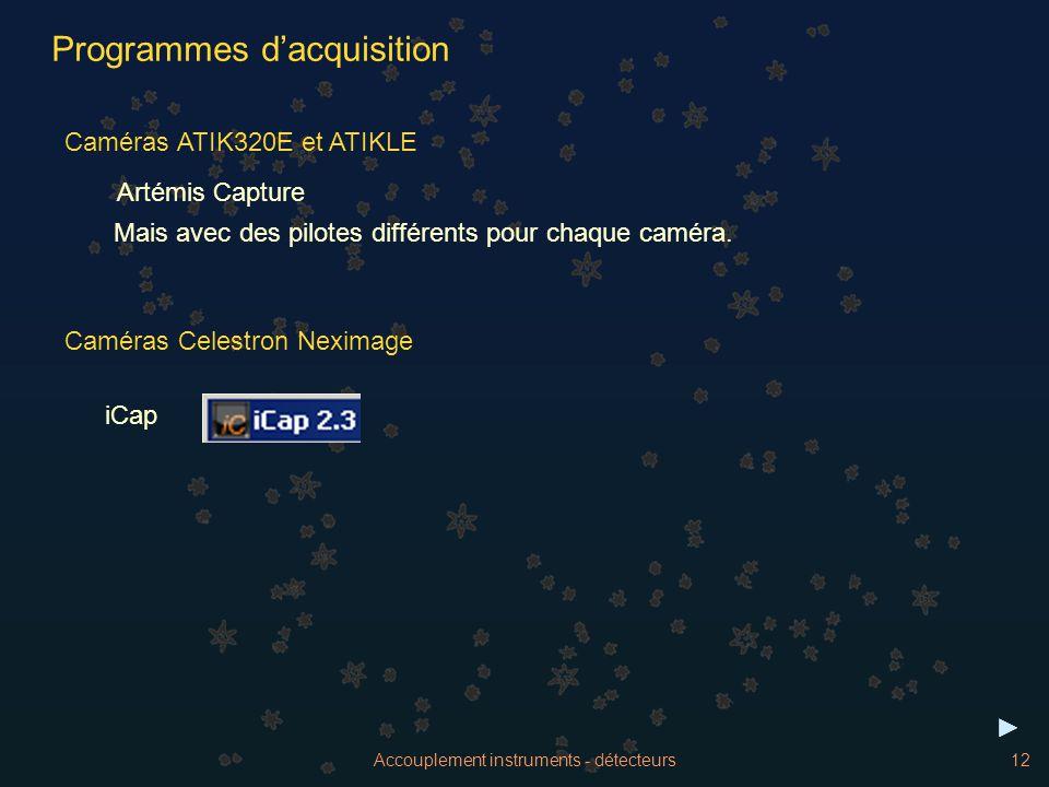 Accouplement instruments - détecteurs12 Caméras ATIK320E et ATIKLE Programmes dacquisition Artémis Capture Mais avec des pilotes différents pour chaqu