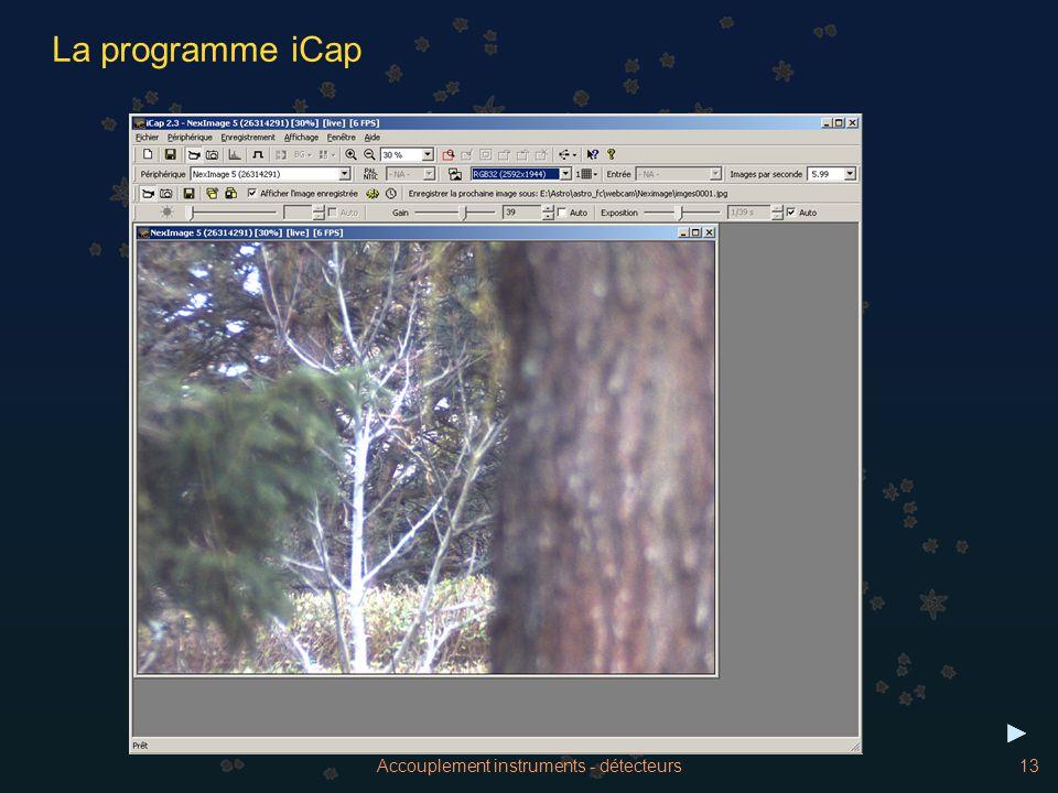 Accouplement instruments - détecteurs13 La programme iCap