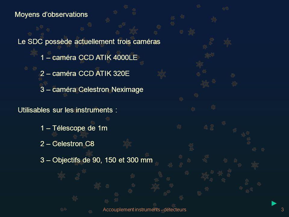 Accouplement instruments - détecteurs3 Moyens dobservations Le SDC possède actuellement trois caméras 1 – caméra CCD ATIK 4000LE 2 – caméra CCD ATIK 3