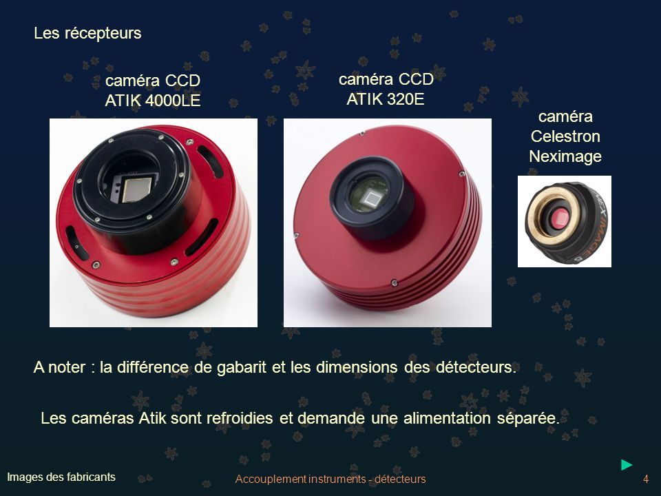 Accouplement instruments - détecteurs5 Caractéristiques Atik 4000LE Atik 320E Celestron Neximage DétecteurCMOS CCDSony MT9P031 Kodak KAI 04022ICX274 Dim.5.7 x 4.28 mm15.15 x 15.155.37 x 5.37 Nb pixels2592 x 19442047 x 20471220 x 1220 Dim.