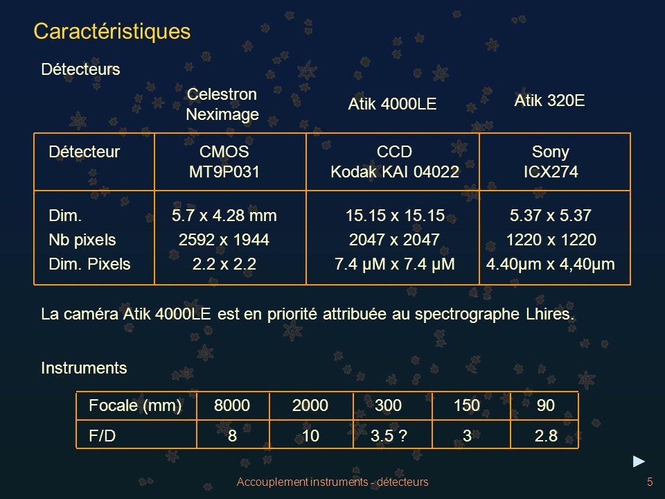 Accouplement instruments - détecteurs5 Caractéristiques Atik 4000LE Atik 320E Celestron Neximage DétecteurCMOS CCDSony MT9P031 Kodak KAI 04022ICX274 D
