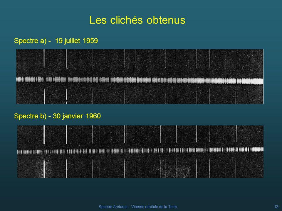 Spectre Arcturus - Vitesse orbitale de la Terre11 A quel moment de lannée .