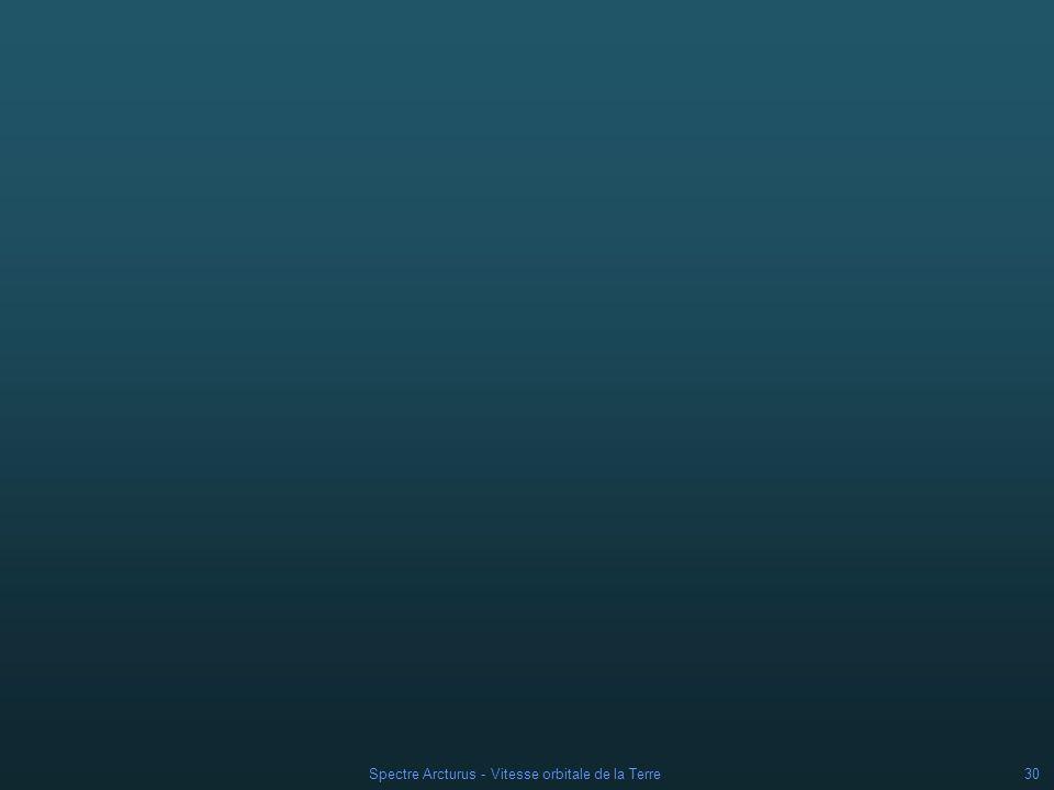 Spectre Arcturus - Vitesse orbitale de la Terre29