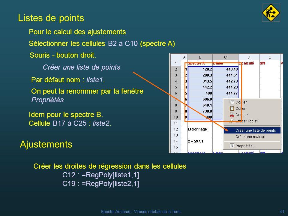 Spectre Arcturus - Vitesse orbitale de la Terre40 2 - Etalonnage du déplacement cellules B2:B10 (spectre A) Mesurer en se servant du curseur du Zoom (