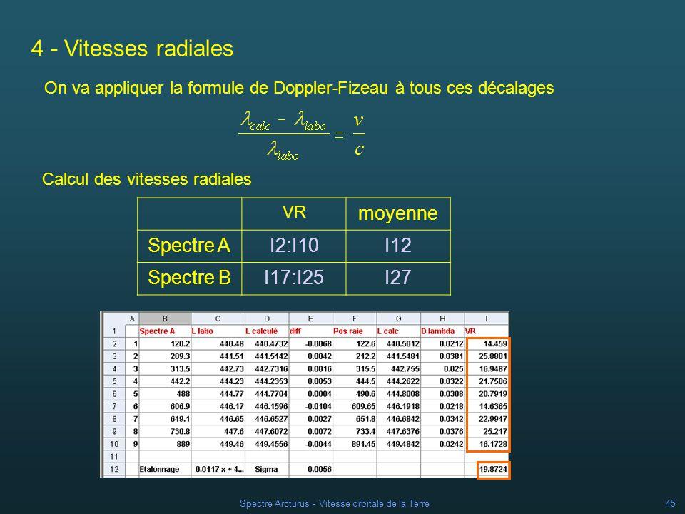 Spectre Arcturus - Vitesse orbitale de la Terre44 3 - Mesure des spectres de létoile Mesure des raies Calcul des longueurs : Différences de longueurs donde : Spectre A cellules H2:H10 Spectre B cellules H17:H25 Spectre A cellules G2:G10 Spectre B cellules G17:G25 Spectre A cellules F2:F10 Spectre B cellules F17:F25