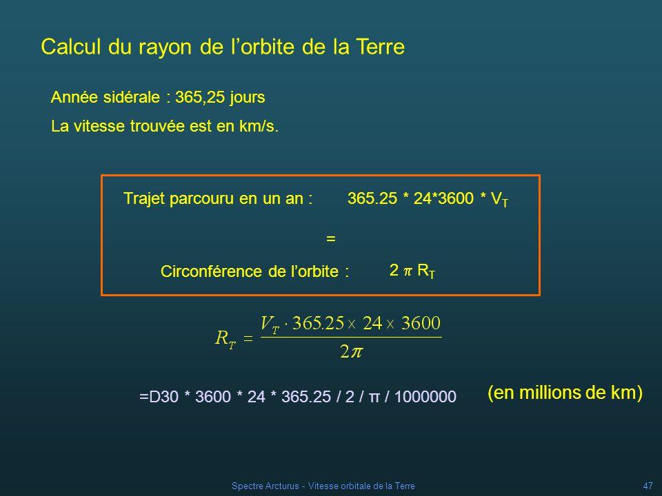 Spectre Arcturus - Vitesse orbitale de la Terre46 Calcul de la vitesse de la Terre Vitesse mesurée dans la direction de létoile = la vitesse de létoile par rapport au Soleil + la projection de la vitesse de la Terre sur la direction de létoile.