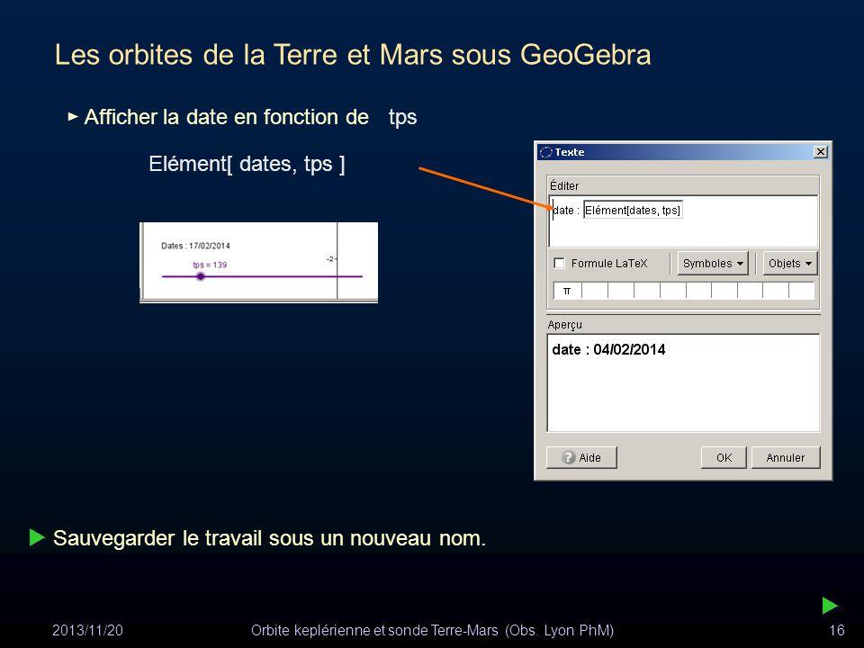 2013/11/20Orbite keplérienne et sonde Terre-Mars (Obs. Lyon PhM)16 Les orbites de la Terre et Mars sous GeoGebra Elément[ dates, tps ] Sauvegarder le