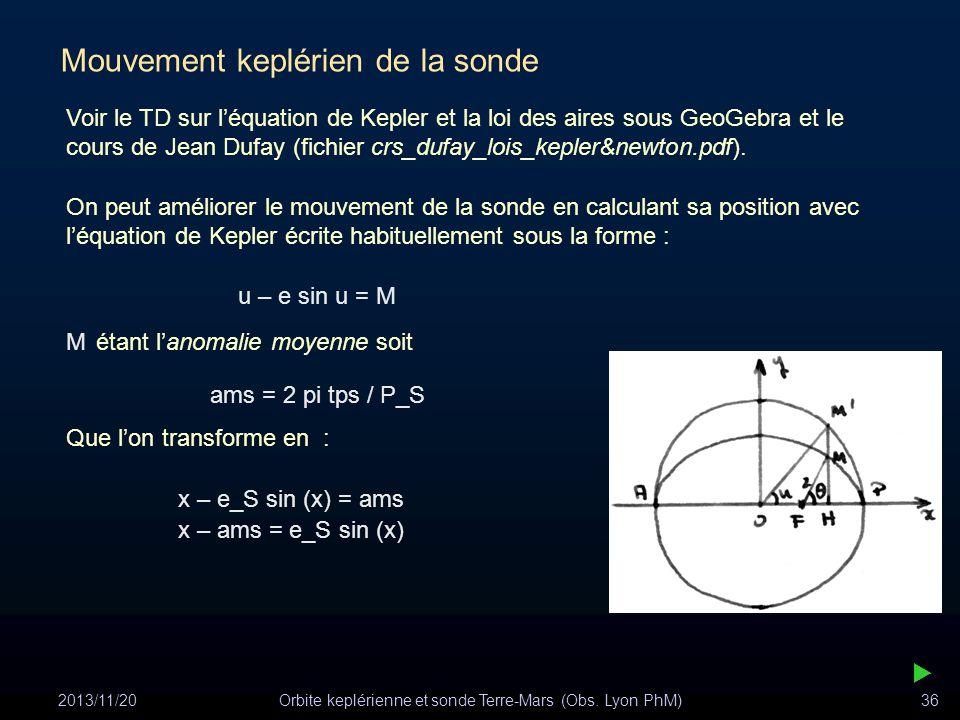 2013/11/20Orbite keplérienne et sonde Terre-Mars (Obs. Lyon PhM)36 Mouvement keplérien de la sonde On peut améliorer le mouvement de la sonde en calcu