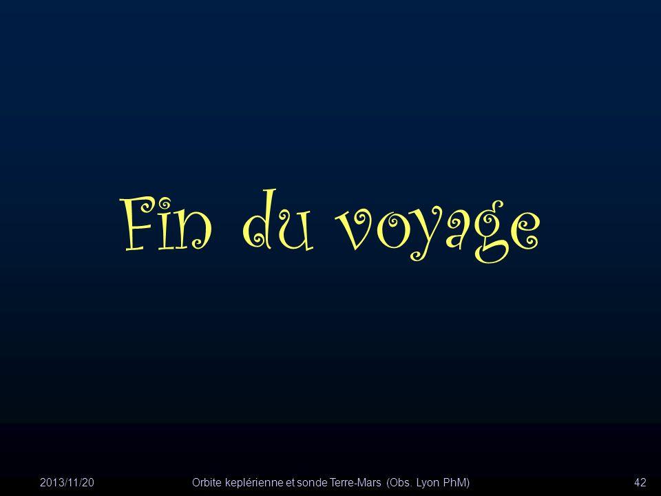2013/11/20Orbite keplérienne et sonde Terre-Mars (Obs. Lyon PhM)42 Fin du voyage