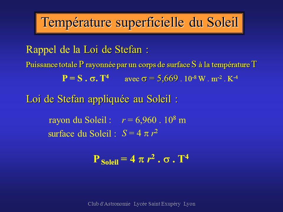 Club d'Astronomie Lycée Saint Exupéry Lyon Soleil L énergie totale rayonnée (aire sous la courbe) correspond à celle dun corps noir à 5 800 K Le rayon