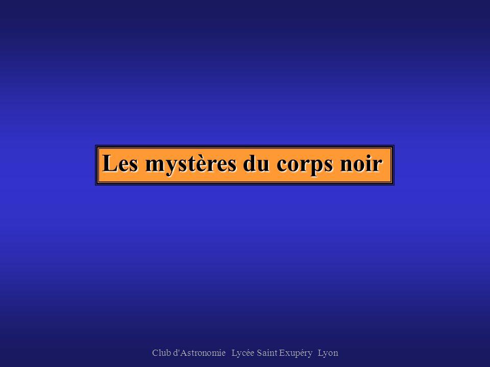 Club d'Astronomie Lycée Saint Exupéry Lyon Corps solides incandescents La répartition de lénergie dans ce spectre dépend de la température de la sourc