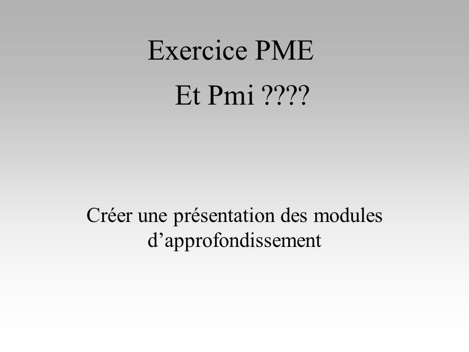 Exercice PME Créer une présentation des modules dapprofondissement Et Pmi ????