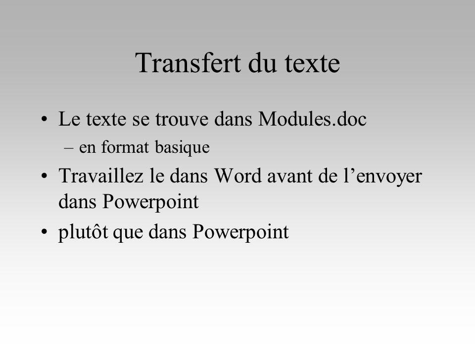 Transfert du texte Le texte se trouve dans Modules.doc –en format basique Travaillez le dans Word avant de lenvoyer dans Powerpoint plutôt que dans Po