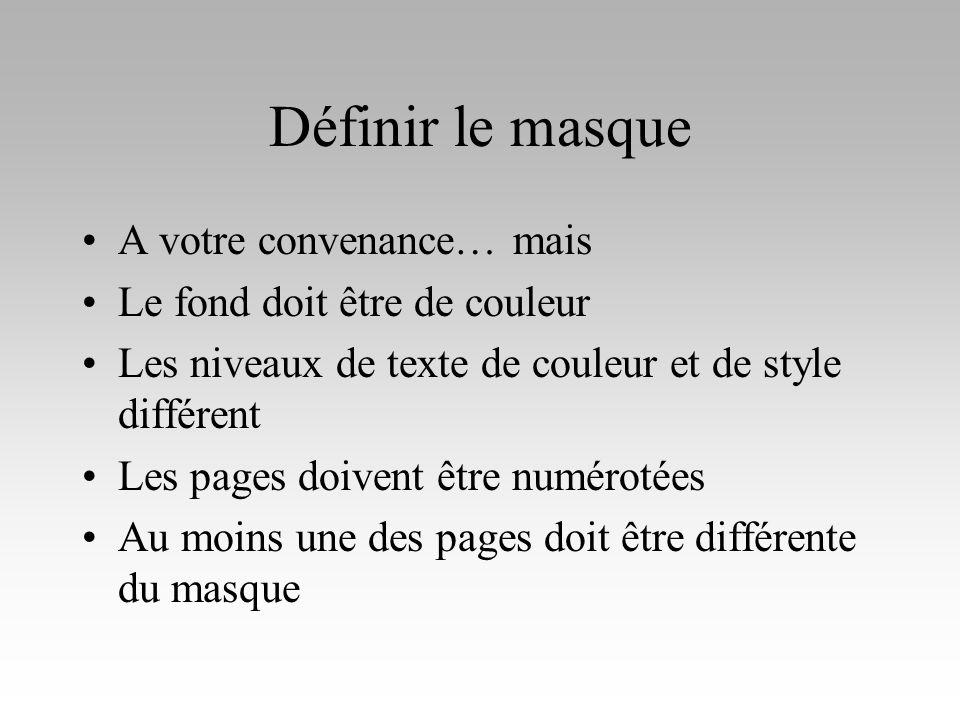 Définir le masque A votre convenance… mais Le fond doit être de couleur Les niveaux de texte de couleur et de style différent Les pages doivent être n