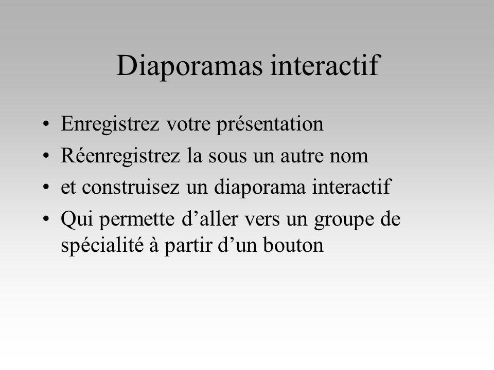 Diaporamas interactif Enregistrez votre présentation Réenregistrez la sous un autre nom et construisez un diaporama interactif Qui permette daller ver