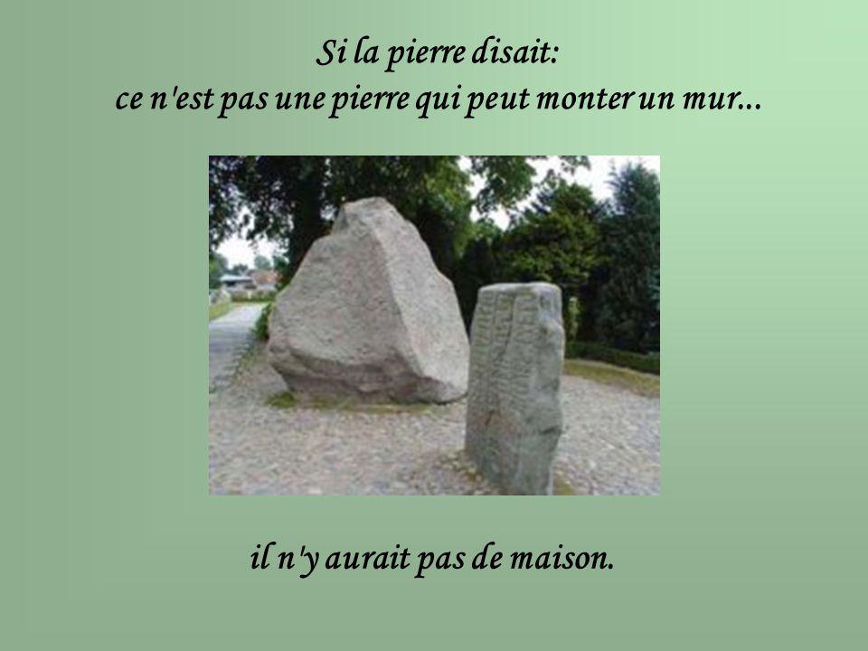 Si la pierre disait: ce n'est pas une pierre qui peut monter un mur... il n'y aurait pas de maison.