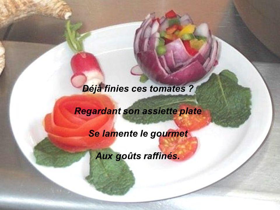 Déjà finies ces tomates Regardant son assiette plate Se lamente le gourmet Aux goûts raffinés.