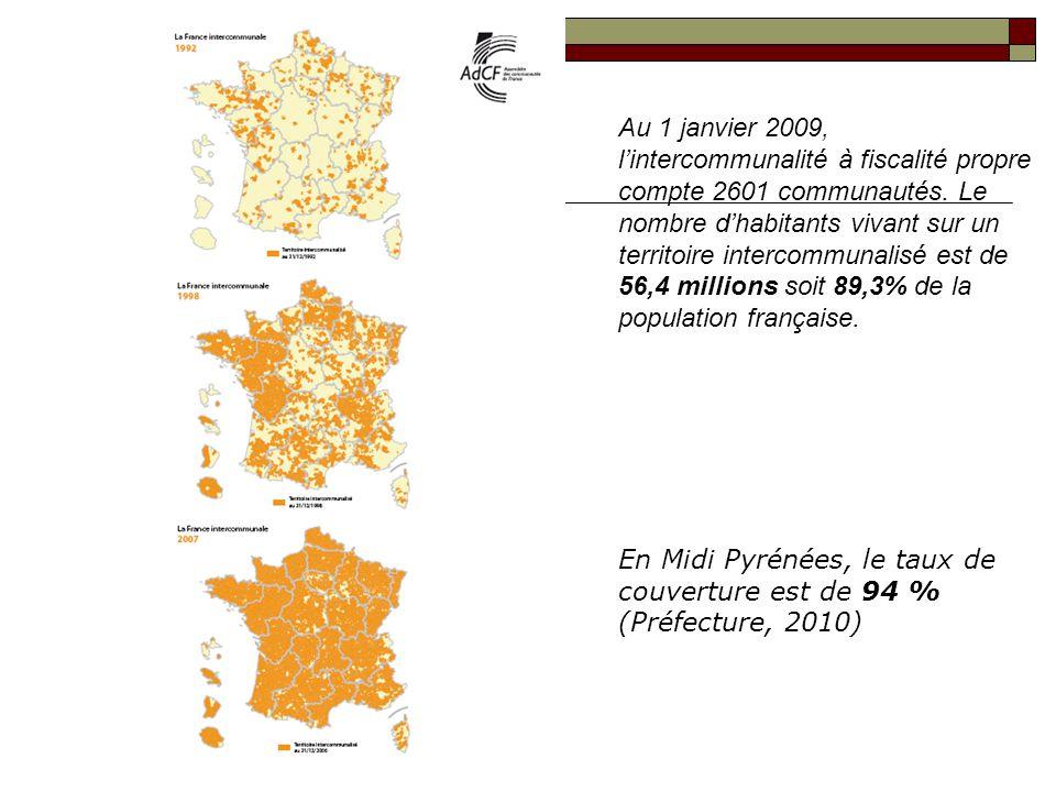 Au 1 janvier 2009, lintercommunalité à fiscalité propre compte 2601 communautés. Le nombre dhabitants vivant sur un territoire intercommunalisé est de
