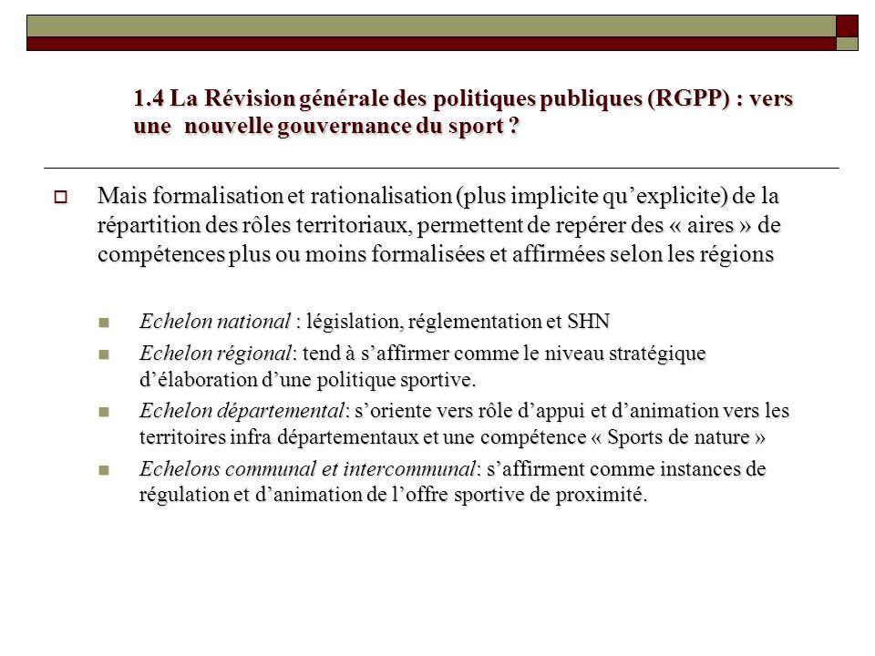 1.4 La Révision générale des politiques publiques (RGPP) : vers une nouvelle gouvernance du sport ? Mais formalisation et rationalisation (plus implic