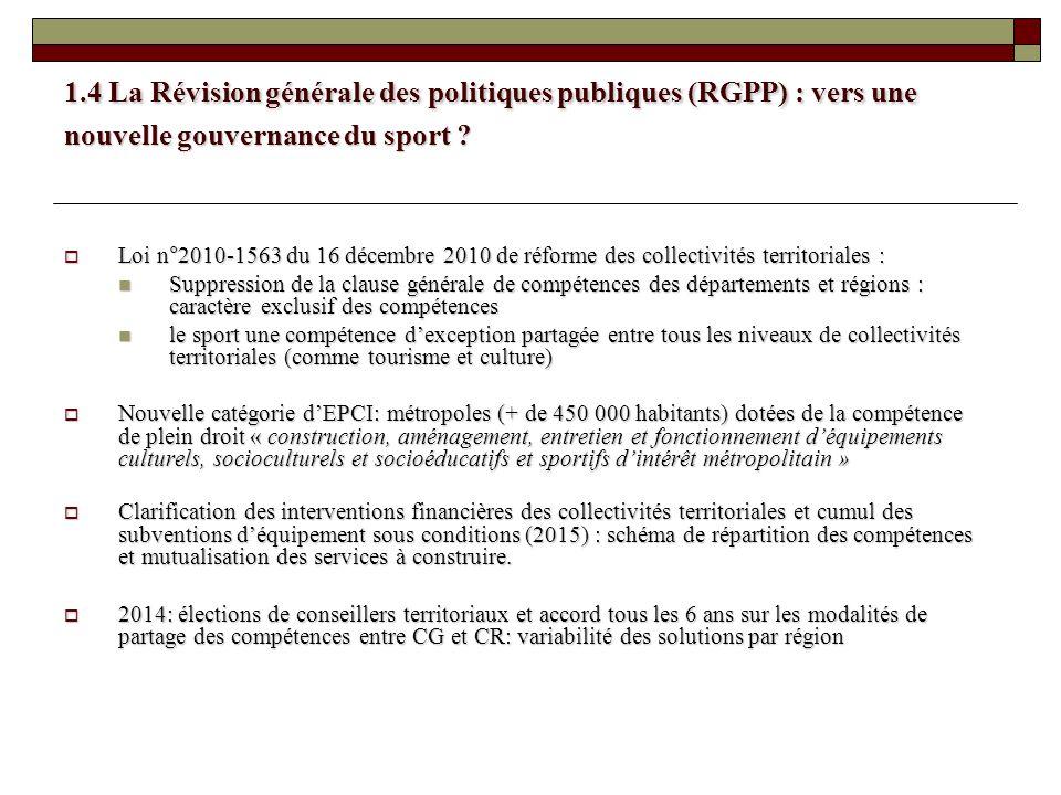 1.4 La Révision générale des politiques publiques (RGPP) : vers une nouvelle gouvernance du sport ? Loi n°2010-1563 du 16 décembre 2010 de réforme des