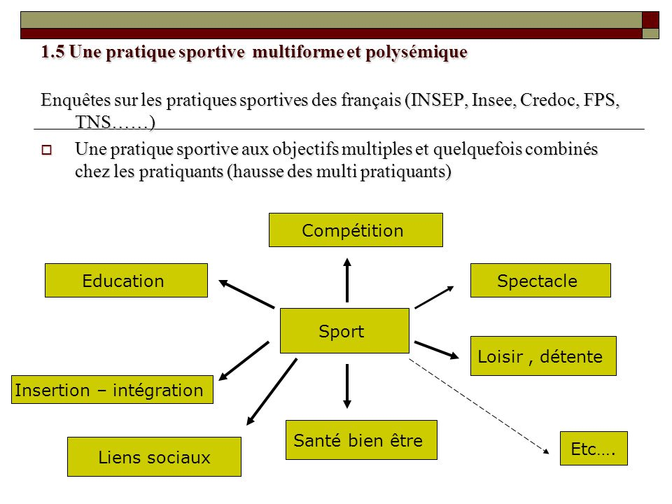 1.5 Une pratique sportive multiforme et polysémique Enquêtes sur les pratiques sportives des français (INSEP, Insee, Credoc, FPS, TNS……) Une pratique