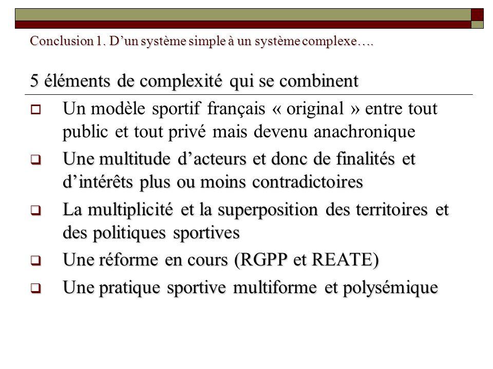 Conclusion 1. Dun système simple à un système complexe…. 5 éléments de complexité qui se combinent Un modèle sportif français « original » entre tout