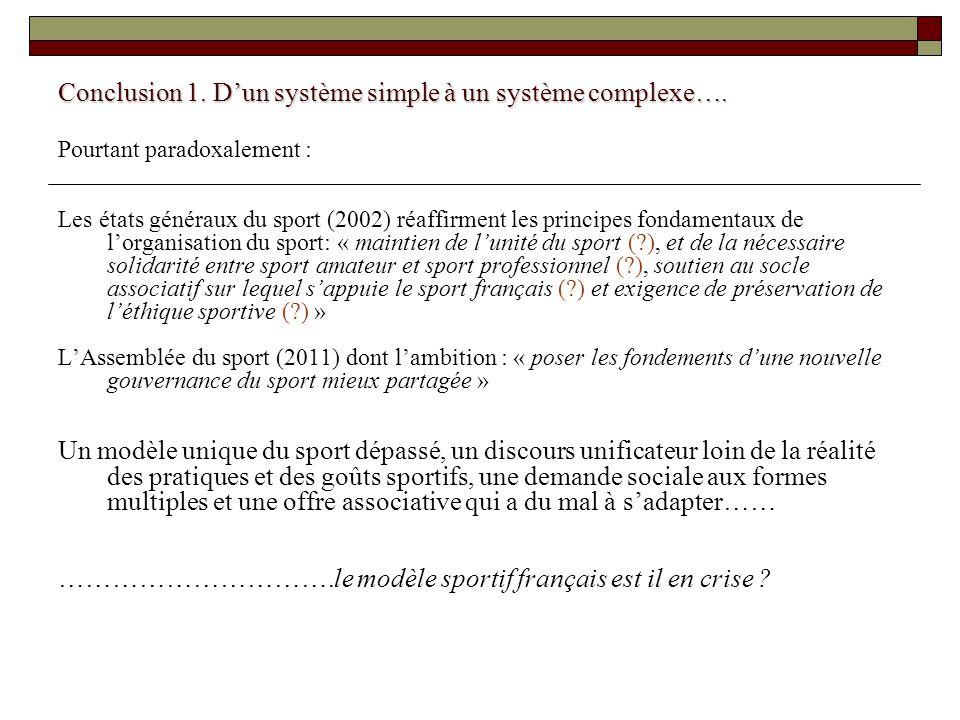 Conclusion 1. Dun système simple à un système complexe…. Pourtant paradoxalement : Les états généraux du sport (2002) réaffirment les principes fondam
