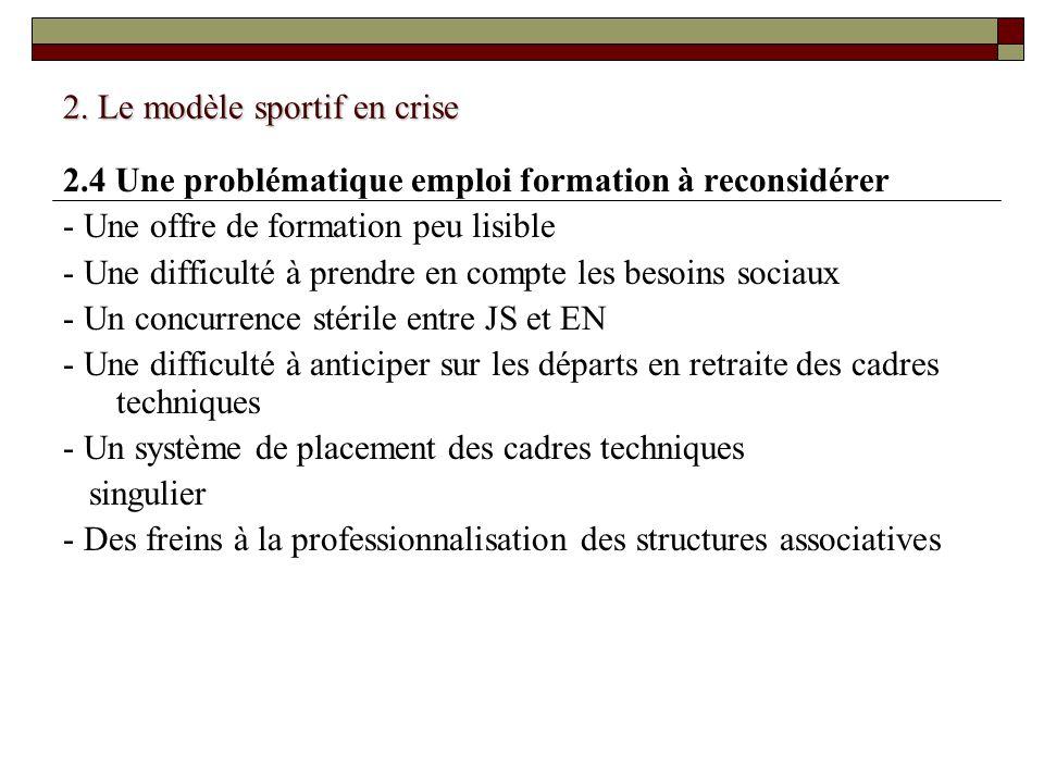 2. Le modèle sportif en crise 2.4 Une problématique emploi formation à reconsidérer - Une offre de formation peu lisible - Une difficulté à prendre en