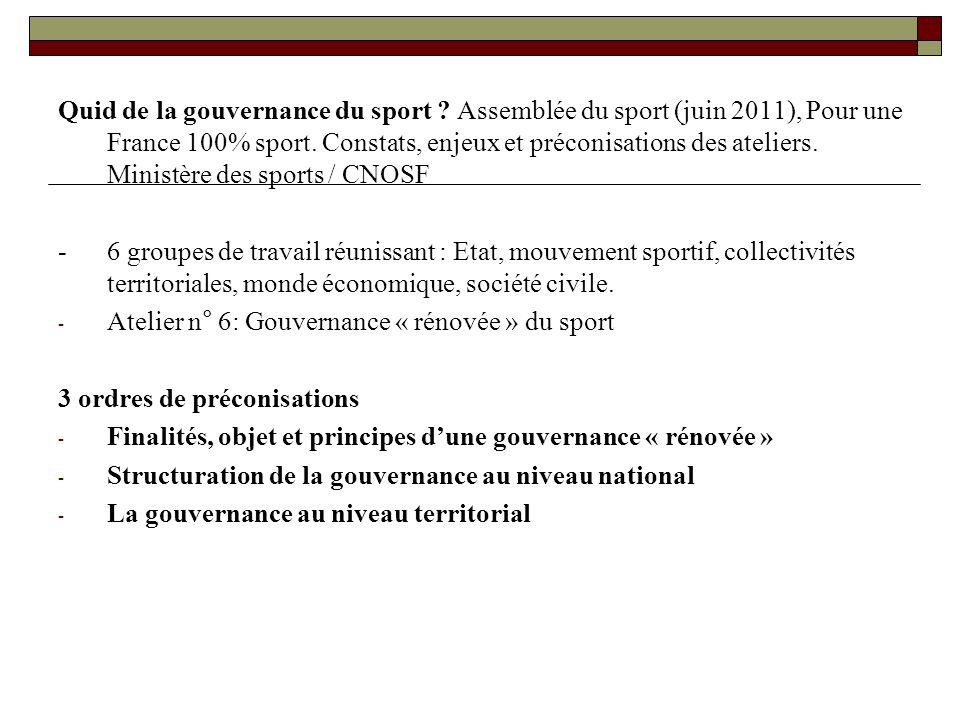 Quid de la gouvernance du sport ? Assemblée du sport (juin 2011), Pour une France 100% sport. Constats, enjeux et préconisations des ateliers. Ministè