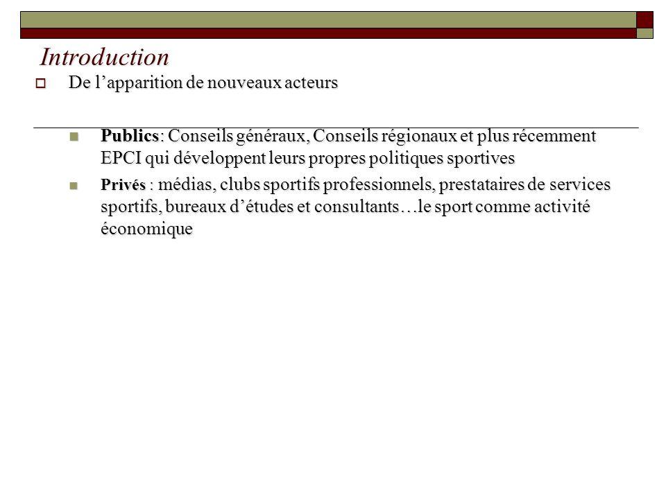 Introduction De lapparition de nouveaux acteurs De lapparition de nouveaux acteurs Publics: Conseils généraux, Conseils régionaux et plus récemment EP