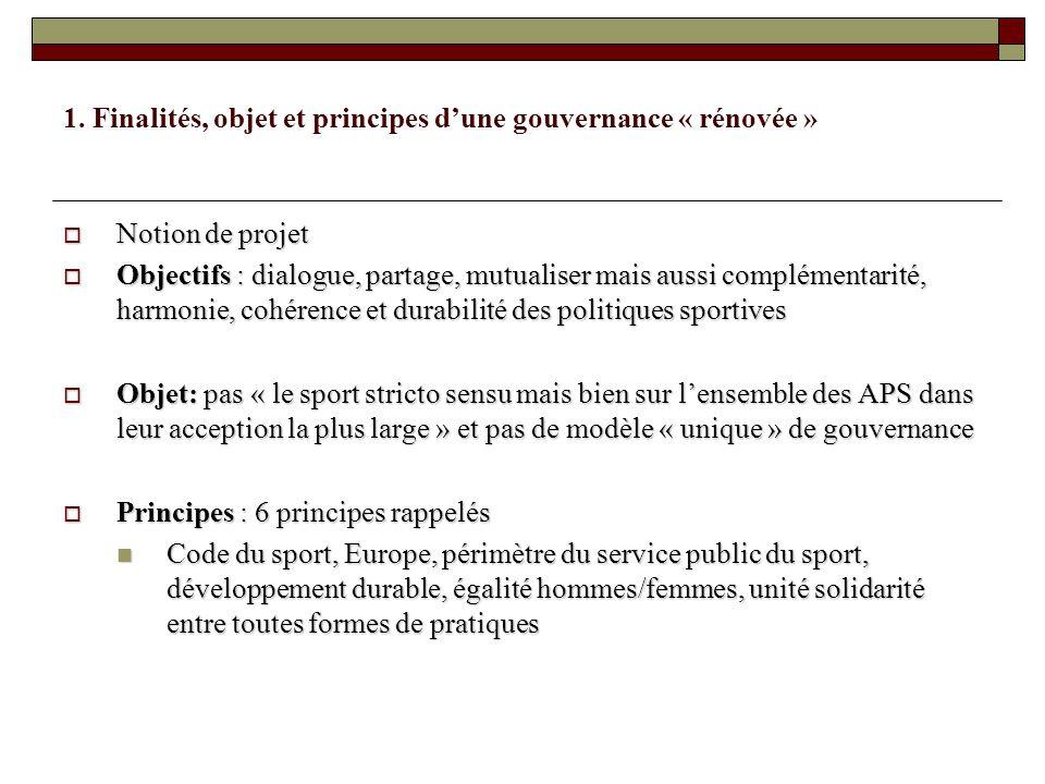 1. Finalités, objet et principes dune gouvernance « rénovée » Notion de projet Notion de projet Objectifs : dialogue, partage, mutualiser mais aussi c