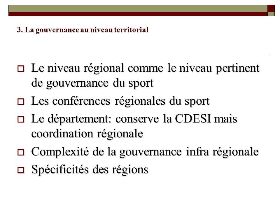 3. La gouvernance au niveau territorial Le niveau régional comme le niveau pertinent de gouvernance du sport Le niveau régional comme le niveau pertin