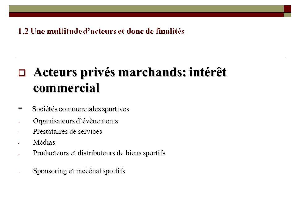 1.2 Une multitude dacteurs et donc de finalités Acteurs privés marchands: intérêt commercial Acteurs privés marchands: intérêt commercial - Sociétés c