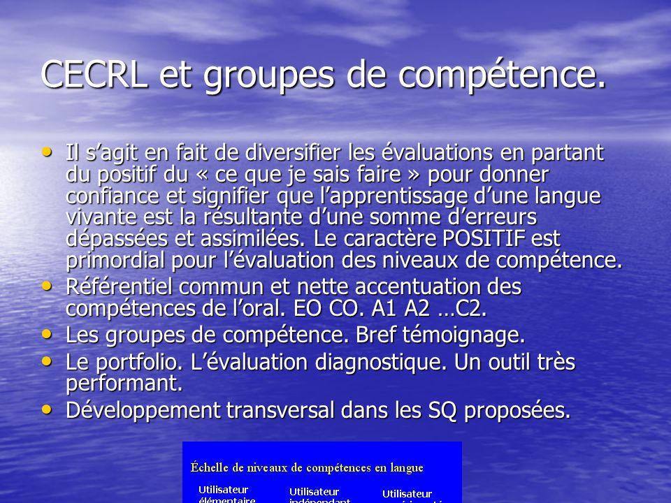 CECRL et groupes de compétence. Il sagit en fait de diversifier les évaluations en partant du positif du « ce que je sais faire » pour donner confianc