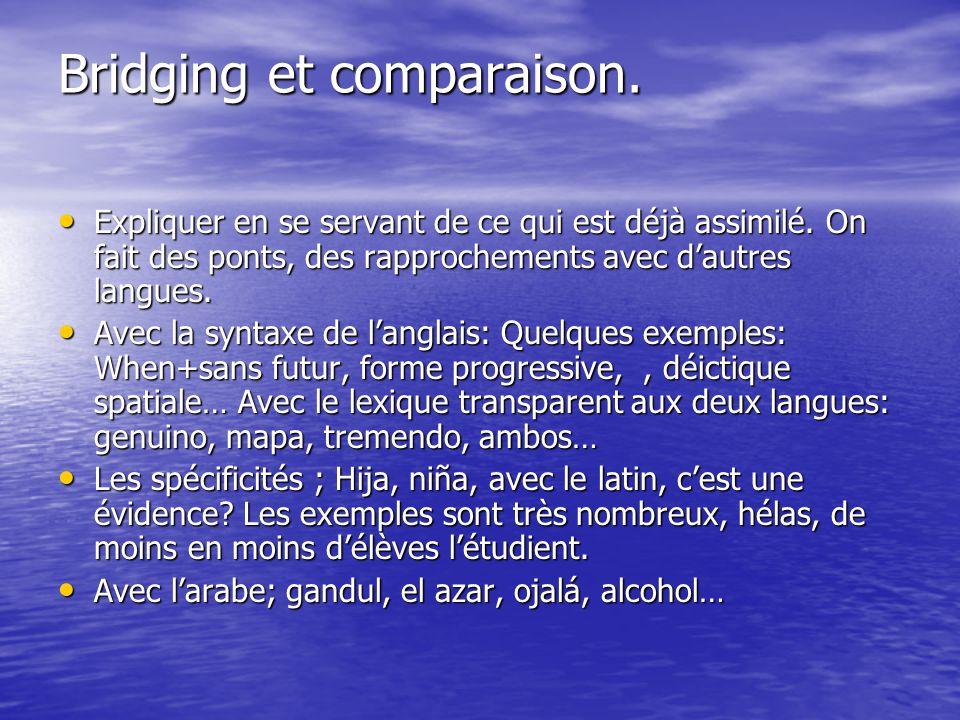 Bridging et comparaison. Expliquer en se servant de ce qui est déjà assimilé. On fait des ponts, des rapprochements avec dautres langues. Expliquer en