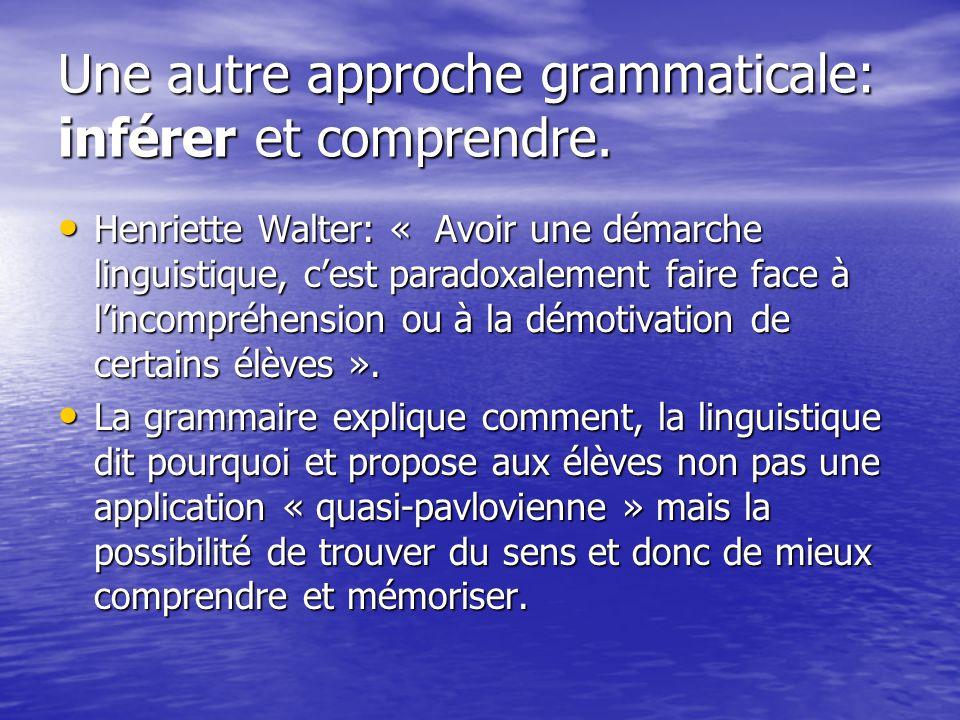 Une autre approche grammaticale: inférer et comprendre. Henriette Walter: « Avoir une démarche linguistique, cest paradoxalement faire face à lincompr